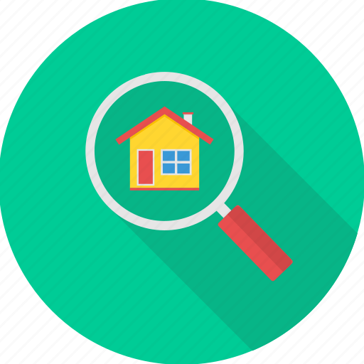 home, house, location, magnifier, search icon