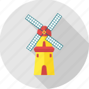 chimney, factory, mill, wind, windmill, work icon