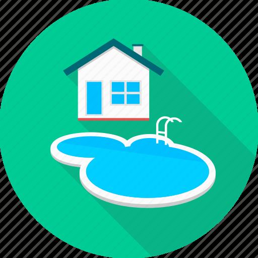 farmhouse, house, penthouse, pool, swimming pool, villa icon