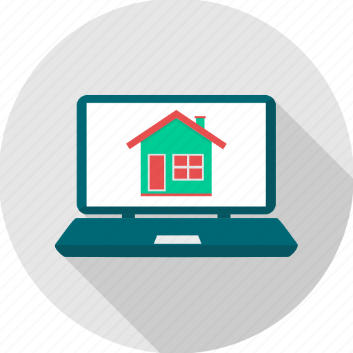 architecture, building, computer, design, home, house, laptop icon