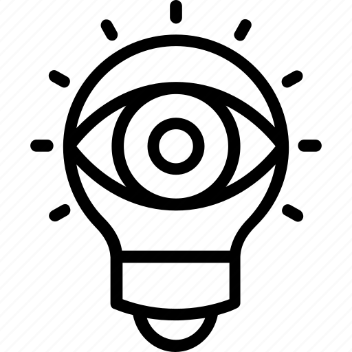 education, eye bulb, learning, vision and idea, vision idea icon