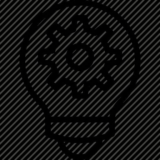 bright idea, creative idea, development, gear bulb, inspiration symbol icon