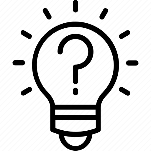 creative idea, creativity, idea, intelligence, lightbulb with question mark icon