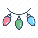 bulbs, series light, decoration, light, bright