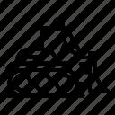 bulldozer, business, car, construction, loader, silhouette, technology