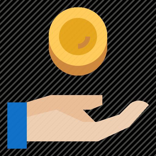 coin, finance, hands, money, saving icon