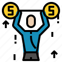dumbbells, money, weight icon