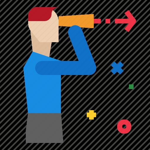 binoculars, businessman, employee, looking, search icon