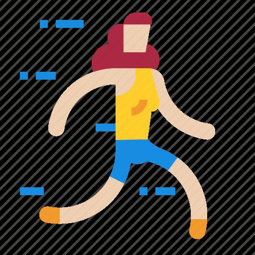 jogger, racer, runner, running, sportsman, women icon