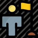 achievement, flag, man, ownership, success icon