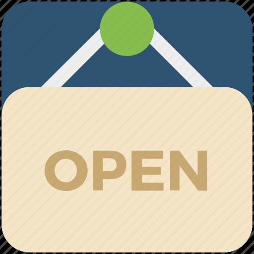 board, business, open, shop icon