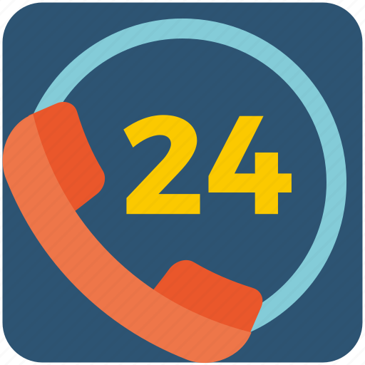 24 hours, business, call, help, service, support icon