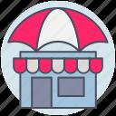 building, business, market, shop, umbrella