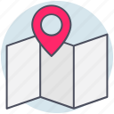 business, location, map, paper icon