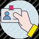 business, hand, id card, identification, identify icon
