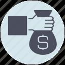 bag, business, hand, money