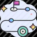 goal, timeline, roadmap, route, flag