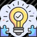 solution, idea, puzzle, light bulb, invention