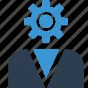 gear, man, person, profile, staff, user, work icon