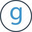 circle, g, google, look, search icon