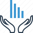 analyze, bars, data, growing, hands icon