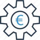 currency, euro, gear, sign, work icon