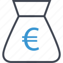 bag, business, euro, money, sign icon