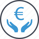 euro, hand, hands, money, sign icon