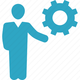 business solution, businessman, gear icon