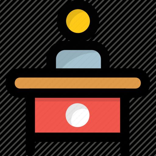 employee desk, office, receptionist, workplace, workstation icon