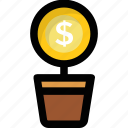business, business growth, dollar plant, investment, profit icon
