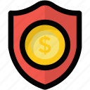dollar shield, financial security, investment insurance, money shield, wealth protection icon