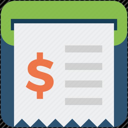 atm, dollar, money, receipt icon