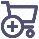 cart, commerce, plus, shopping, shopping cart, trolley icon
