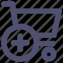 cart, commerce, plus, shopping, shopping cart, trolley