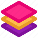 arrange, design, layer, layers, pages, stack icon