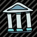 building, business, greek, pillars, roof, triangle