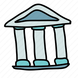 building, business, greek, pillars, roof, triangle icon