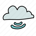 business, cloud, send, share, signal, strength, waves icon