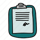 business, chart, clipboard, contract, paper, scribble icon