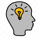 business, head, idea, lamp, light, lightbulb icon