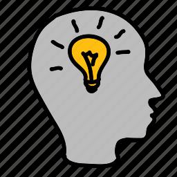 business, head, idea, lamp, light, lightbulb icon