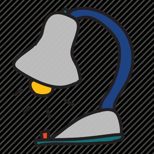 business, desk, lamp, light, office icon