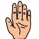business, fingers, five, front, gesture, hand icon