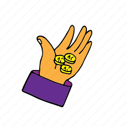 deficiency, hand with money, lack, little money, money, offer, shortage icon