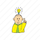 bulb, flashbulb, have an idea, idea, man, thinking, yes man icon