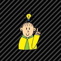 bulb, flashbulb, have an idea, idea, man, thinking, yes man icon