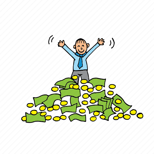be happy, earn, exult, millionar, star, success, winner icon