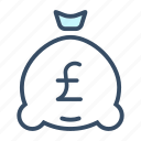 budget, business, finance, interest, investment, money bag, pound icon