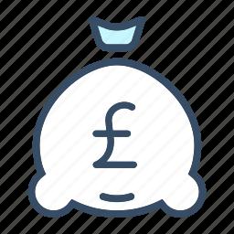 budget, business, finance, interest, investment, money bag, pound icon